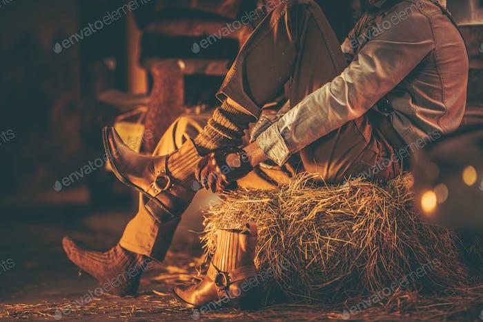 Cowboy in der Scheune