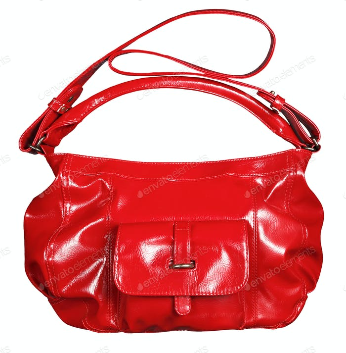 Bright red shiny patent leather handbag
