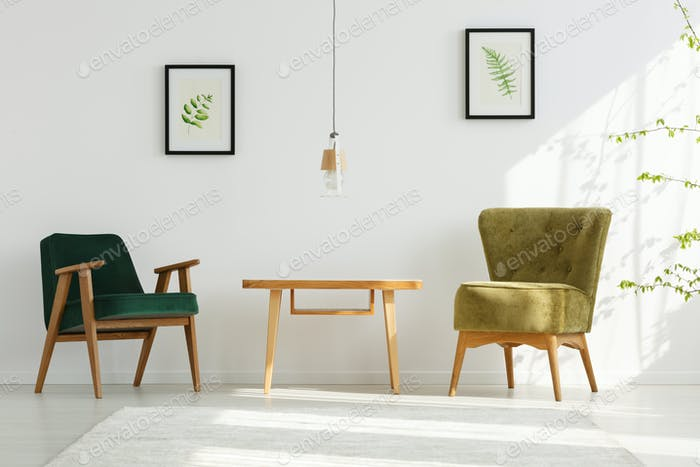 White apartment with green armchairs