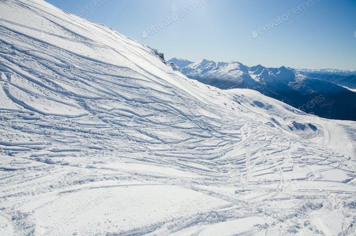 ski tracks in the mountains