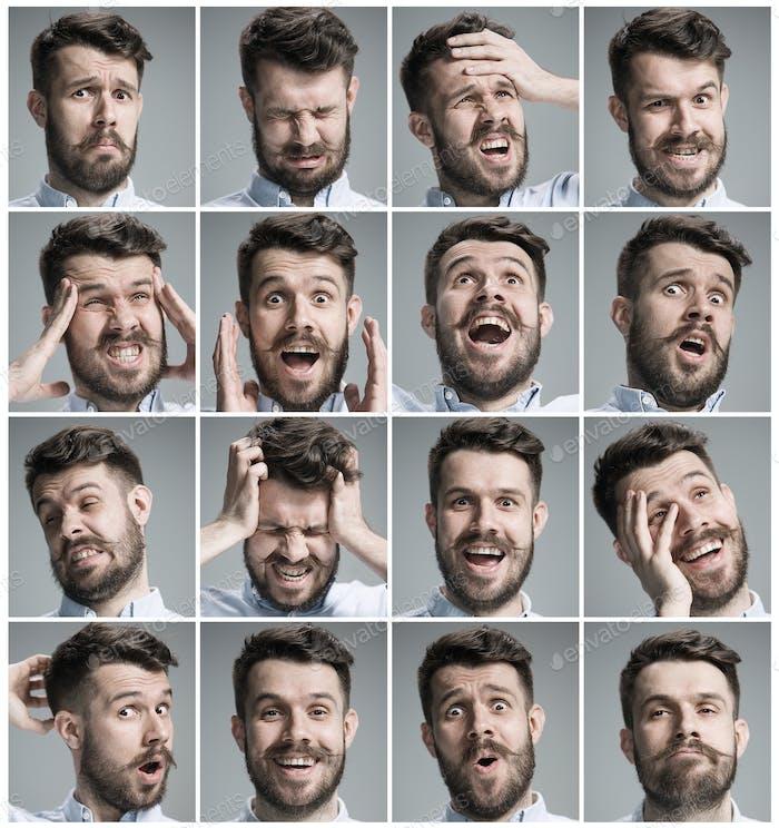 Kit de retratos de Hombre joven con diferentes emociones