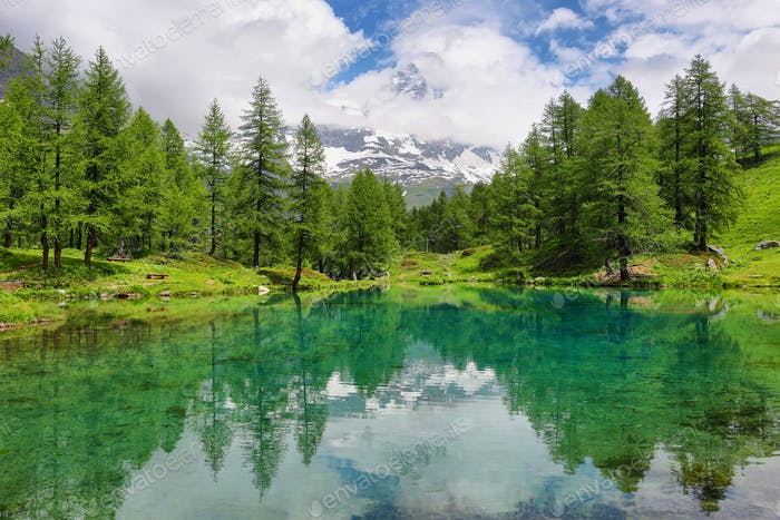 Summer alpine landscape on the Blue Lake (Lago Blu) near Breuil-Cervinia, Aosta Valley, Italy