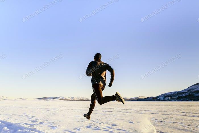 rear view athlete runner