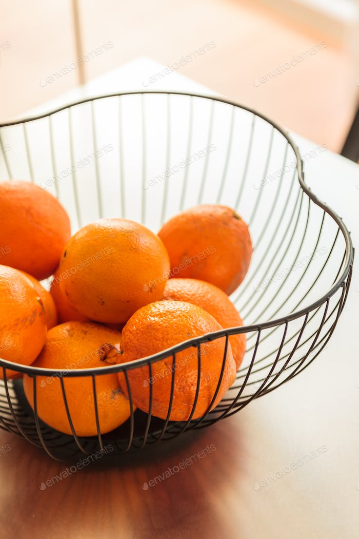 House decoration details oranges basket