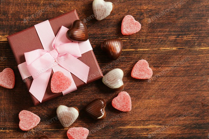 Chocolate Candy Hearts.
