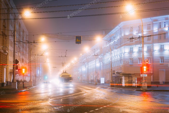 Gomel, Belarus. Traffic Lights Trails On Lenin Avenue.