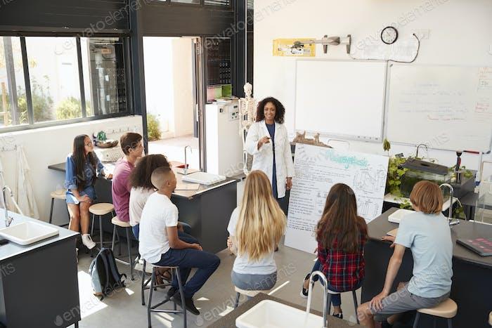 Lehrer präsentiert High-School-Schüler Wissenschaft, hohe Winkel