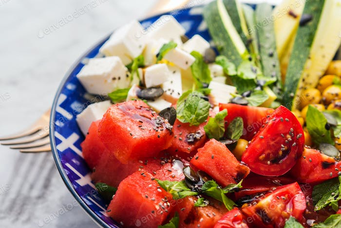Chickpea watermelon salad with feta and tomatoes