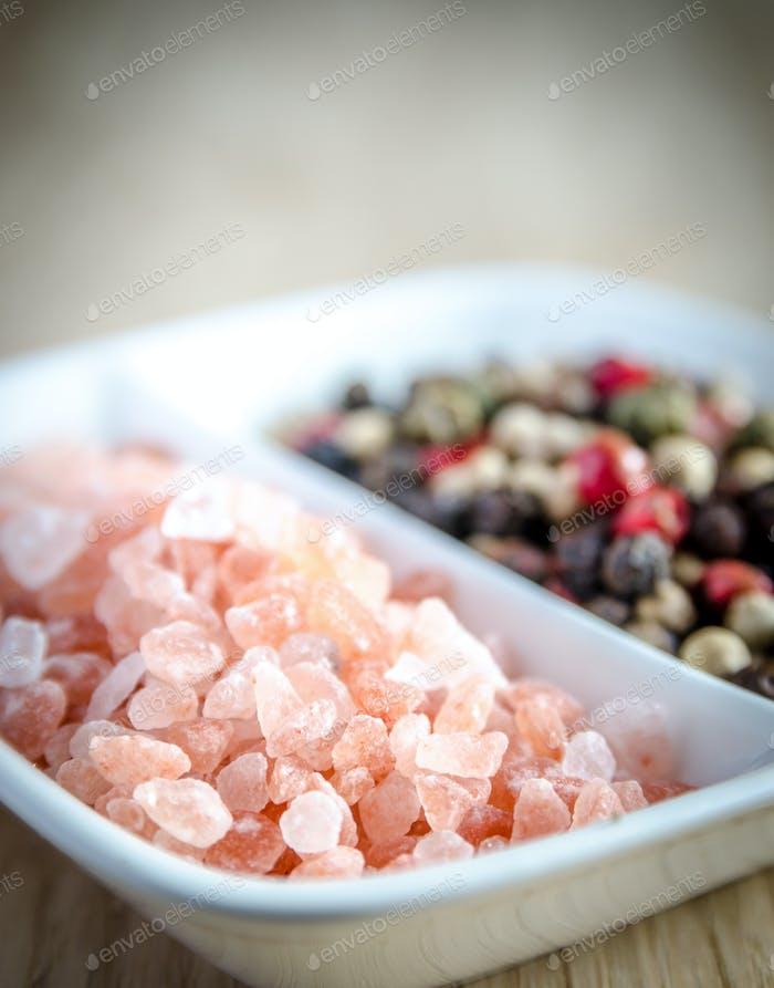 Pink himalayan salt and peppers