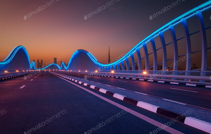 Amazing night dubai VIP bridge. Private road to Meydan race course, Dubai, United Arab Emirates