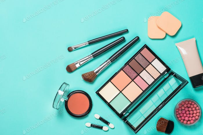 Makeup professional cosmetics on mint background
