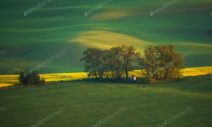 Südmähren Landschaft und Ackerland bei Sonnenaufgang
