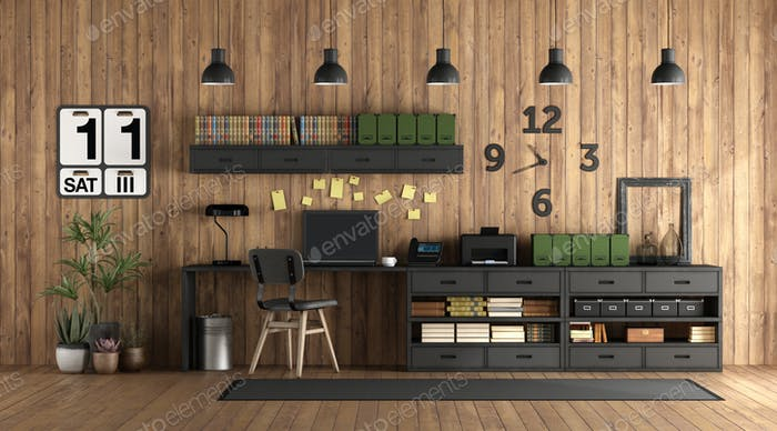 Home office in rustic style