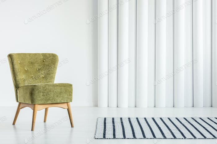 Green chair in living room