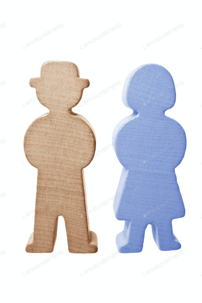 Wooden Couple Figures