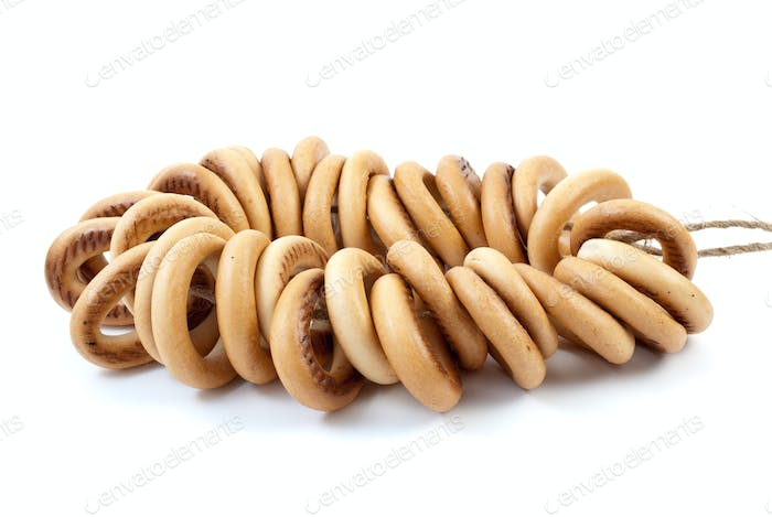 Some bread-rings on rope