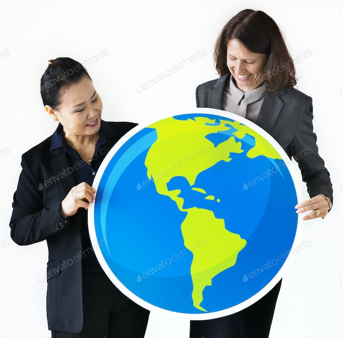 Businesswomen holding globe icon
