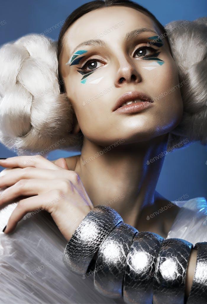 Urbanism. Enigmatic Woman with Silver Metallc Bracelets