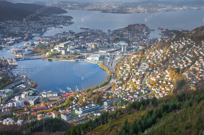 View of Bergen town and bay from Mount Ulriken