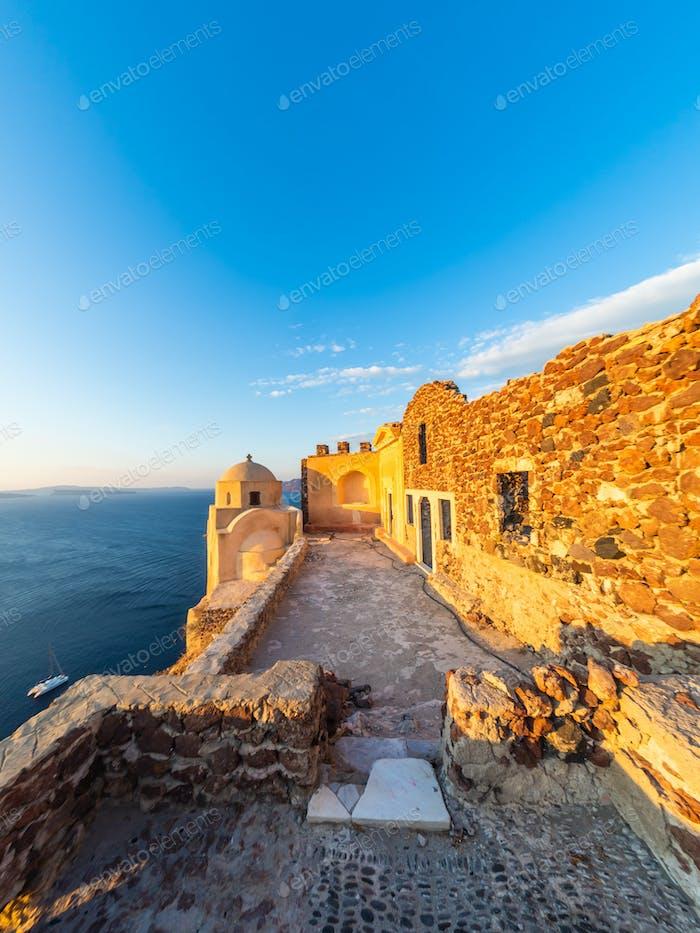 The  ruins of the Venetian castle in Oia Santorini G