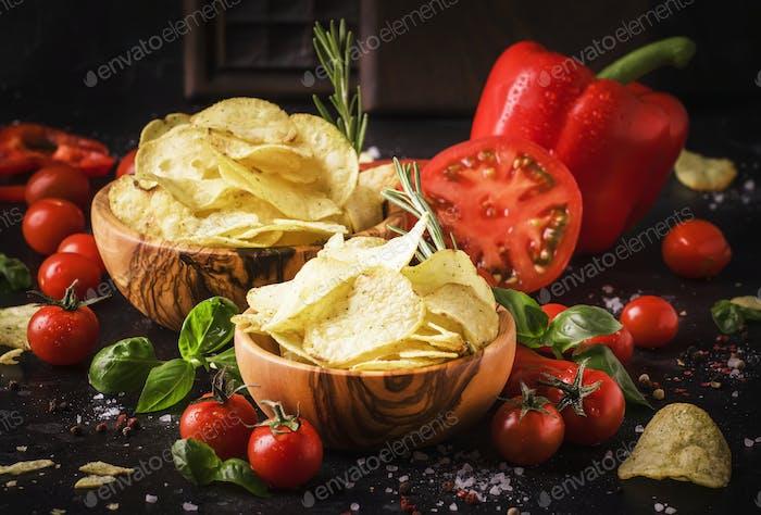 Gold gesalzene Kartoffelchips