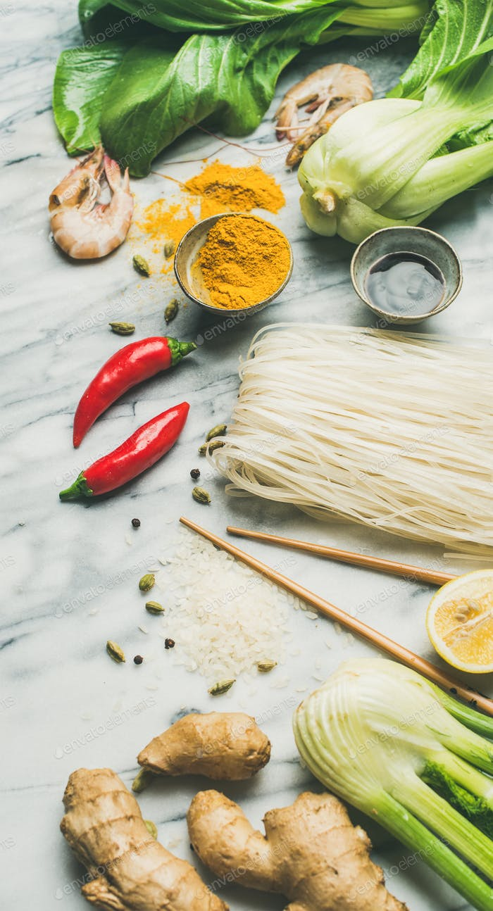 Asian cuisine ingredients over grey marble background