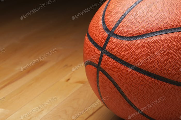 Basketball Shot Close Up on Hardwood Maple Court Floor