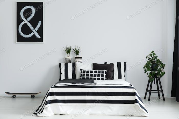 Skateboard and plants in bedroom