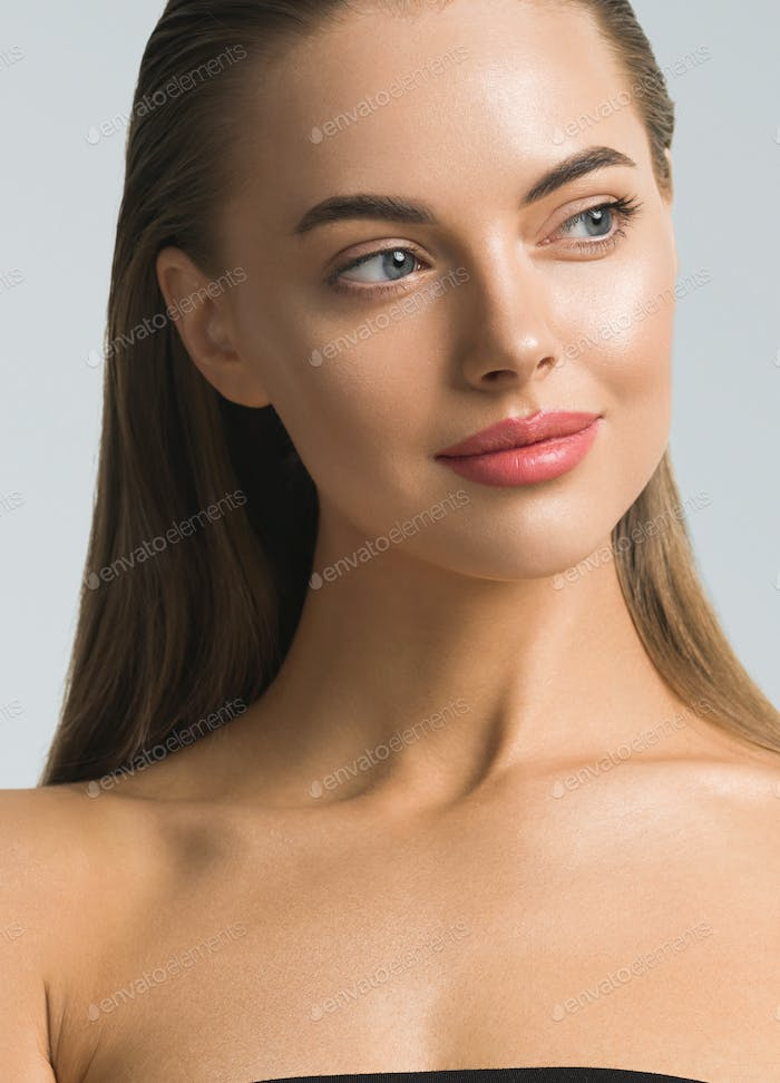 Beautiful eyes lips woman cosmetic concept portrait
