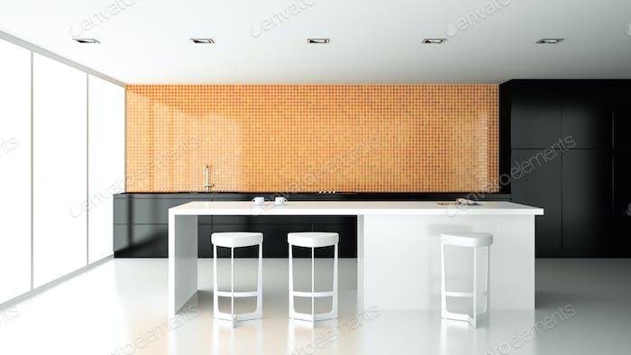 Interior of the modern design kitchen  3D rendering