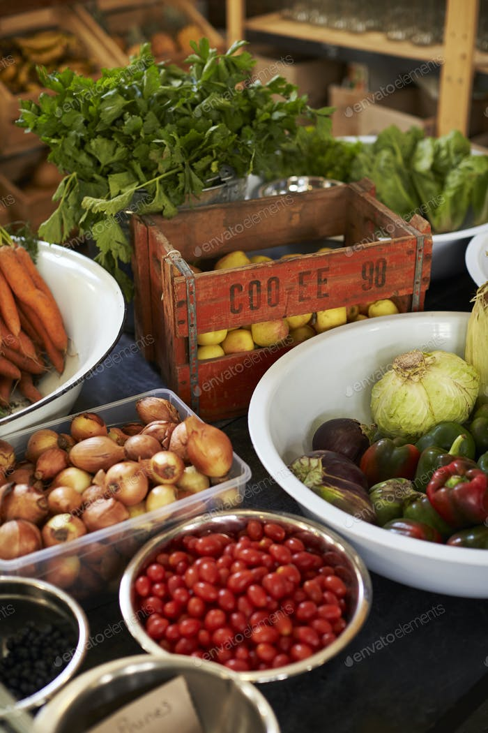 Display Of Vegetables In Sustainable Plastic Packaging Free Grocery Store