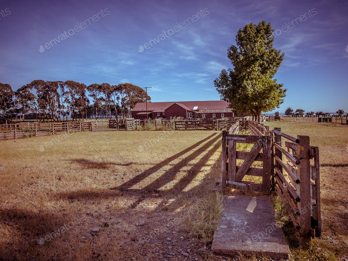 Old New Zealand ranch in vintage color toning