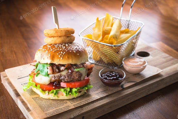 Home made hamburger with french fries