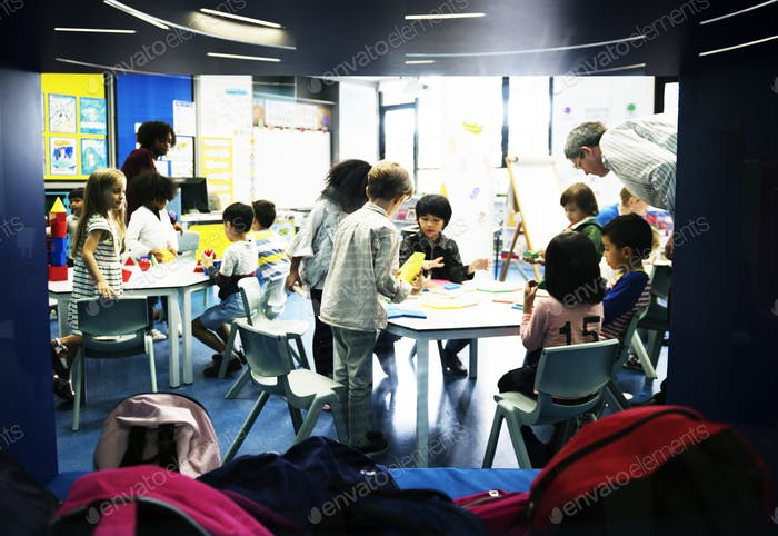 Group of diverse students at daycare