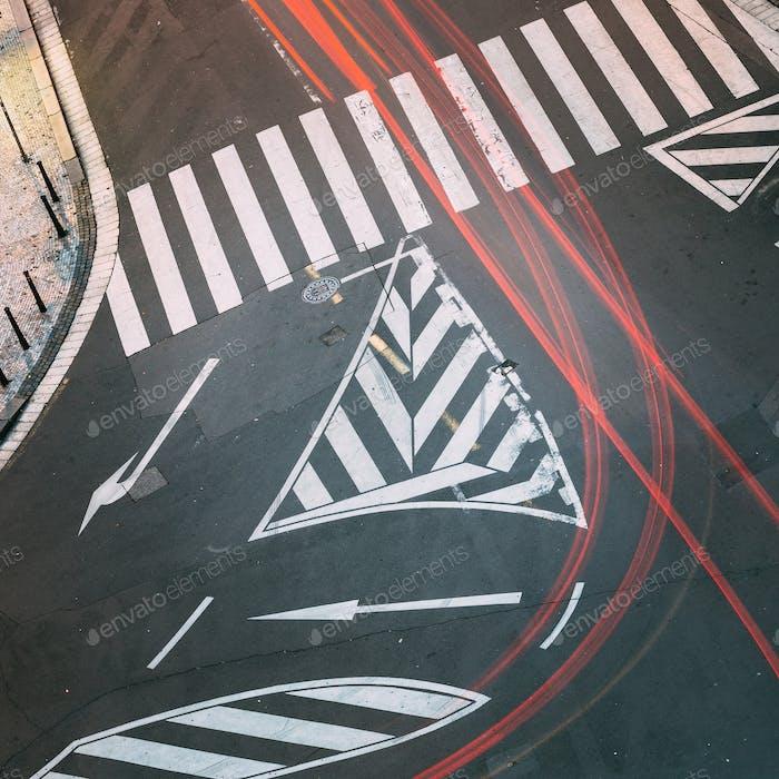 Road marking a pedestrian crossing on European city street