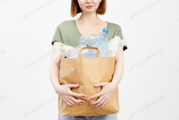 Woman Holding Plastic Waste