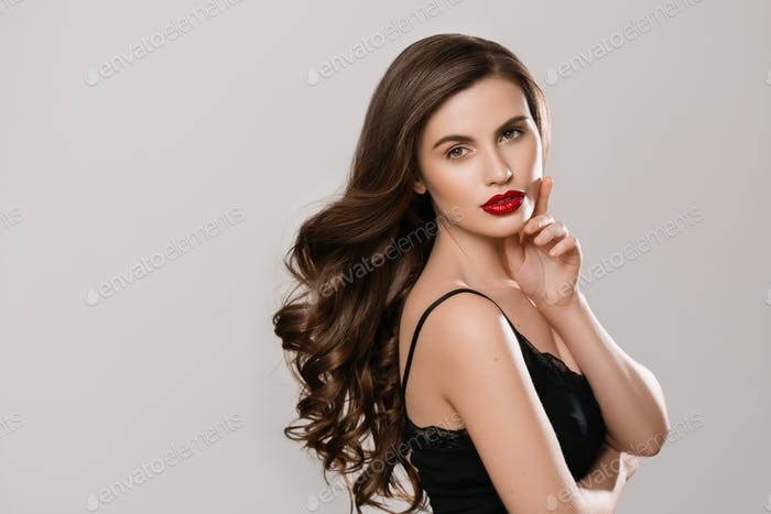 Beauty hairstyle woman long brunette hair beauty