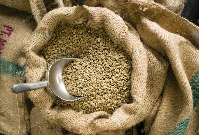 Rohkaffee Samen Bulk Scoop Sackleinen Tasche Landwirtschaft Bohne