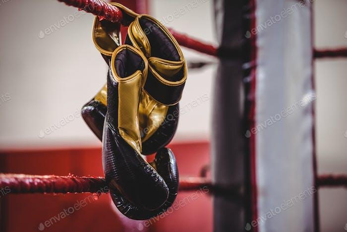 Gelbe Boxhandschuhe hängen vom Boxring