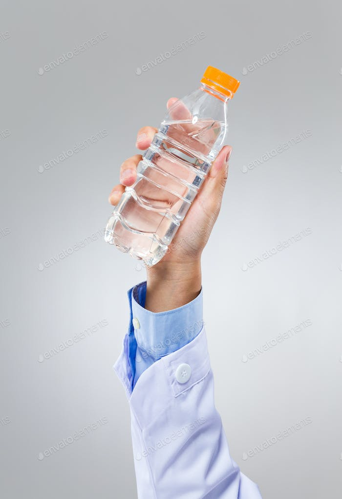 Doctor hold with water bottle