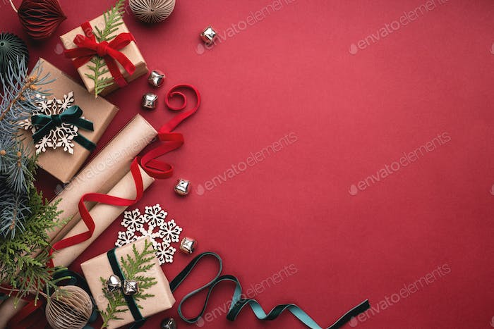 Wrapping Paper and Christmas Gift Boxes.