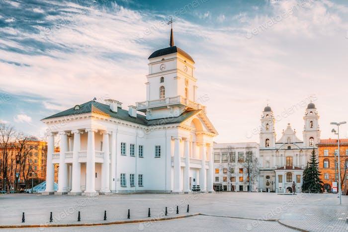 Minsk, Bielorrusia. Antiguo Ciudad de Minsk en el Salón de la Plaza de la Libertad En Su