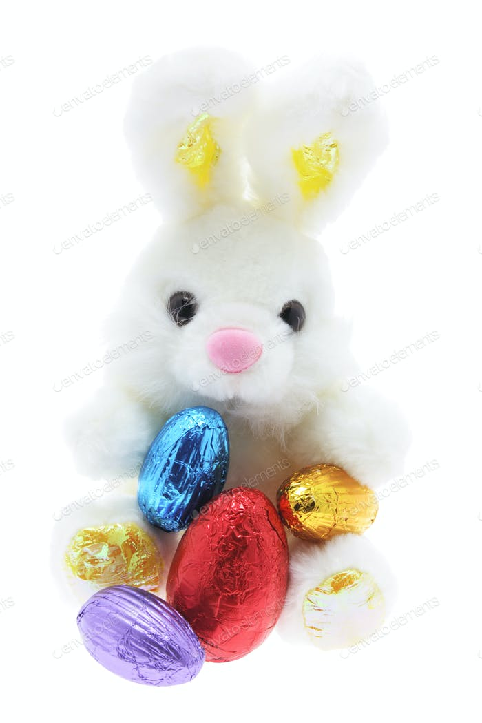 Easter Toy Bunny and Easter Eggs