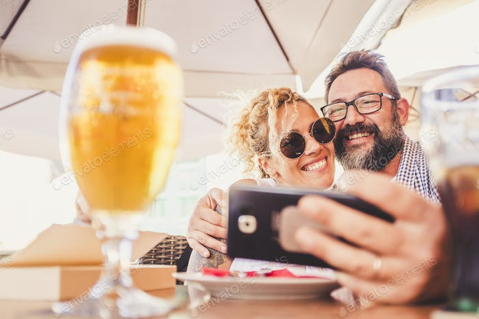 Happy people adult couple do video call