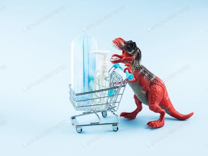 Shopping during covid19 quarantine. Panic concept