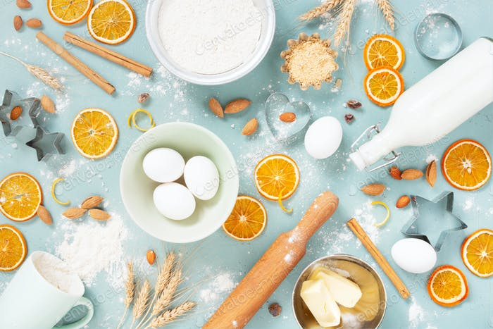 Baking Ingredients on the Blue Table