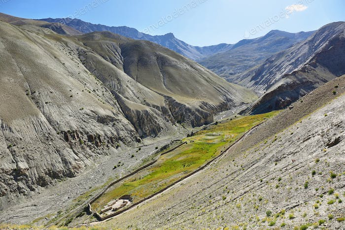 View of colorful mountains from Yurutse, Ladakh, India