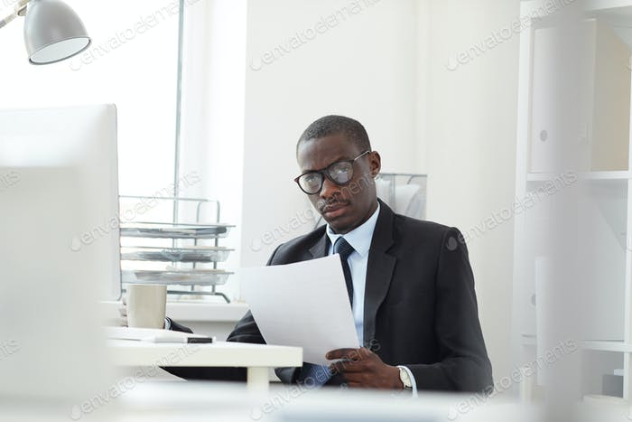 African businessman with business contract