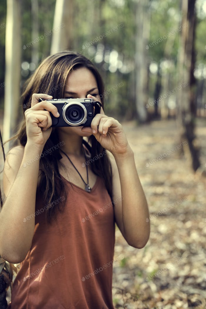 Photographer Camera Woman Shooting Woods Nature Concept