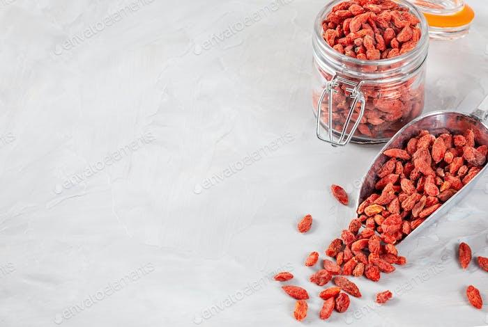 Goji berries rich source of vitamins. Healthy food concept
